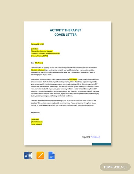 Free Activity Therapist Cover Letter Template