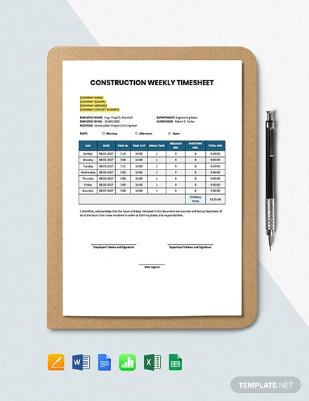 Construction Weekly Timesheet Template