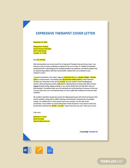 Free Expressive Therapist Cover Letter Template