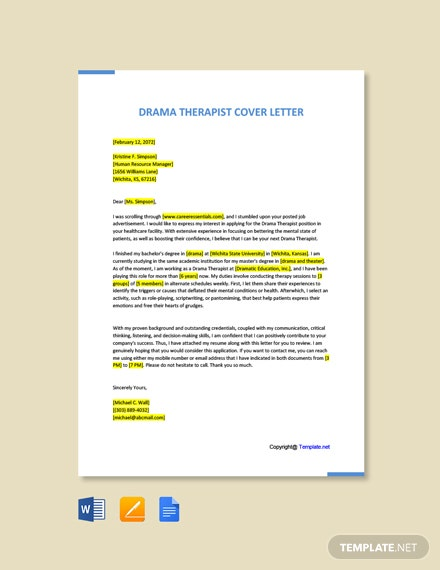 Free Drama Therapist Cover Letter Template
