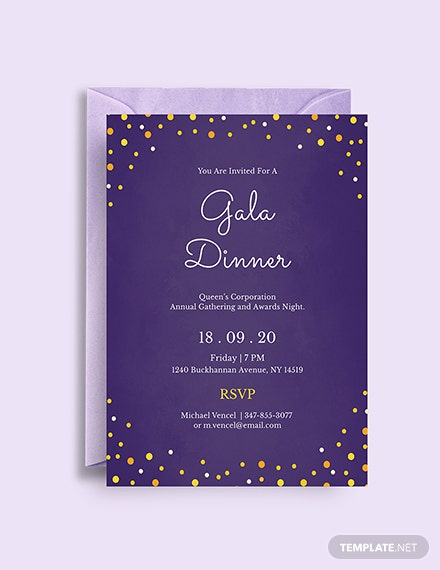 free gala dinner night invitation template  download 344