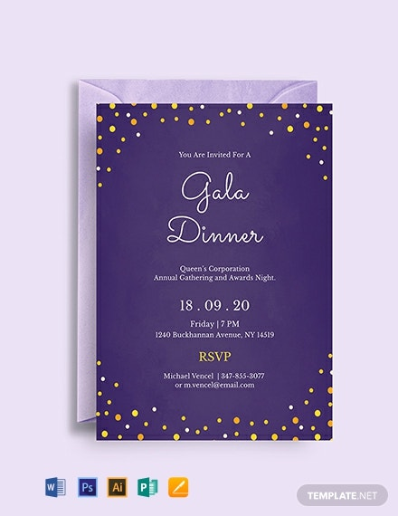 Free Gala Dinner Night Invitation Template Word Psd