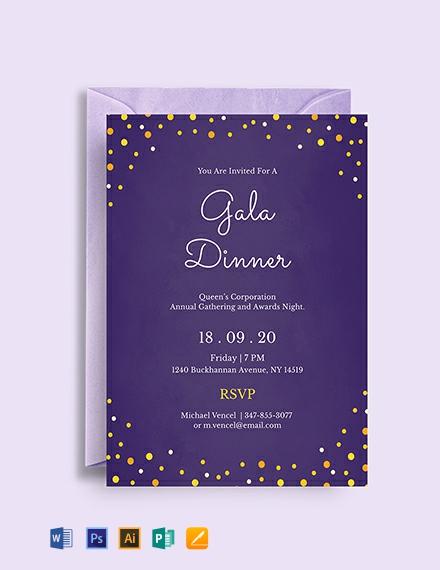 Free Gala Dinner Night Invitation Template