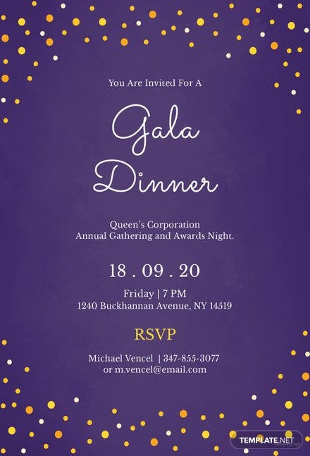free gala dinner night invitation template in illustrator photoshop