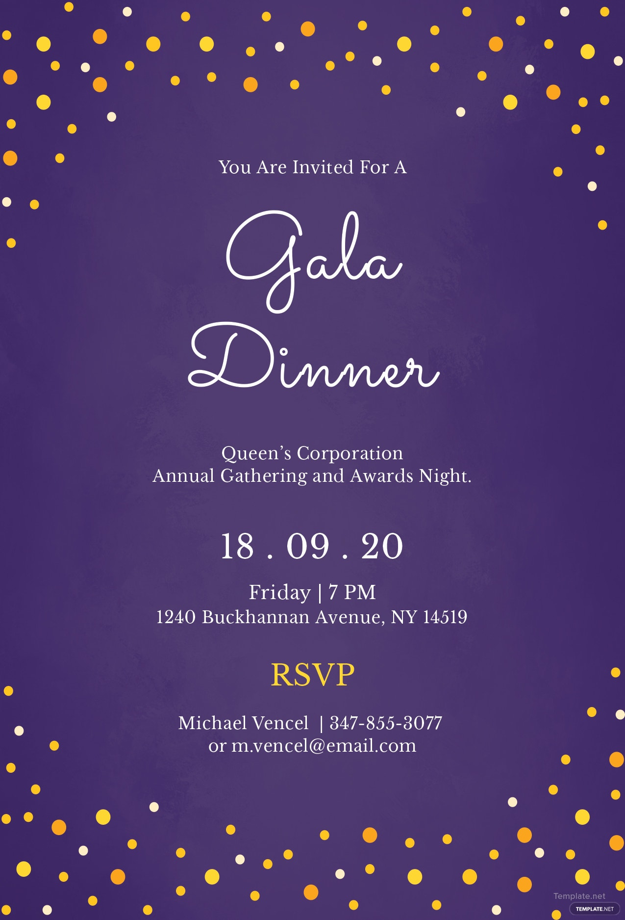 Free Gala Dinner Night Invitation Template In Illustrator