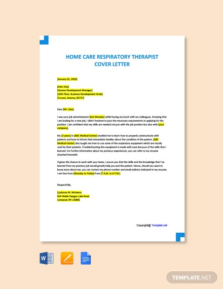 Free Home Care Respiratory Therapist Cover Letter Template