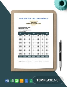 Construction Time Card Template