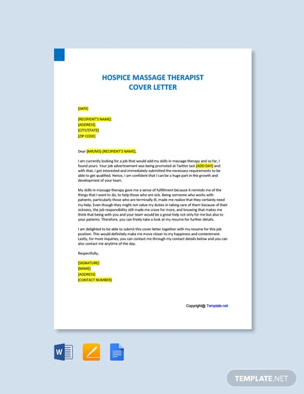 Free Hospice Massage Therapist Cover Letter Template
