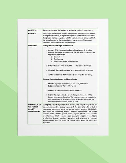 Construction Project Budget Management Format