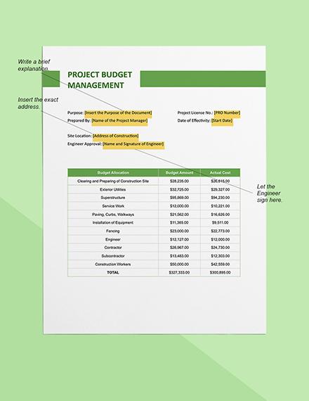 Construction Project Budget Management Sample