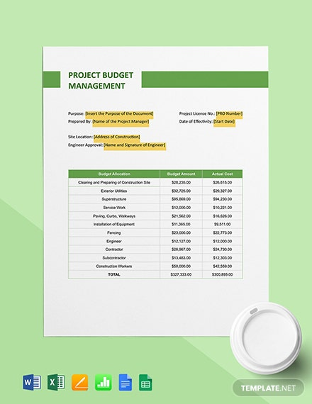 Construction Project Budget Management Template