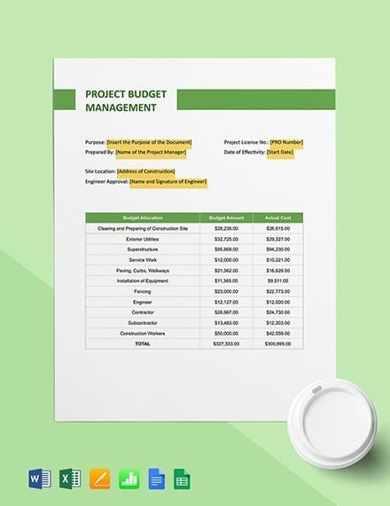 Construction Project Budget Management Template