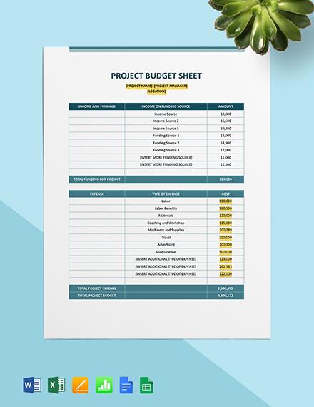Construction Project Budget Sheet Template