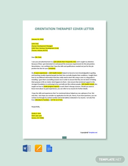 Free Orientation Therapist Cover Letter Template