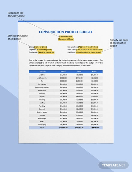 New Construction Project Budget Sample
