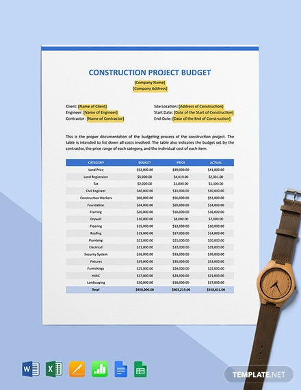 New Construction Project Budget Template