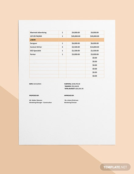 Marketing Construction Project Budget Format