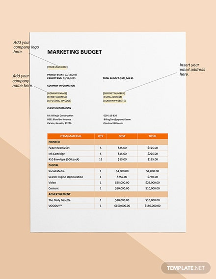 Marketing Construction Project Budget Sample