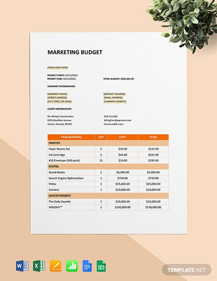 Construction Marketing Project Budget Template