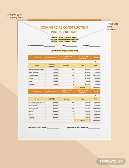 Commercial Construction Project Budget Format
