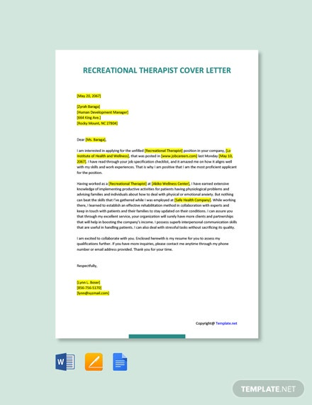 Free Recreational Therapist Cover Letter Template
