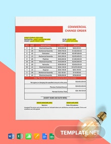 Commercial Construction Change Order Template