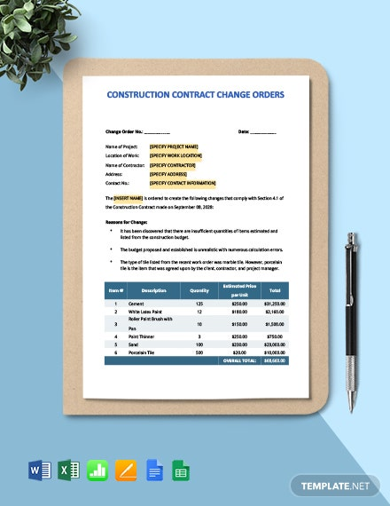 Construction Contract Change Orders Template