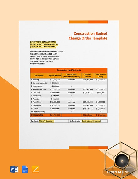 Construction Budget Change Order Format