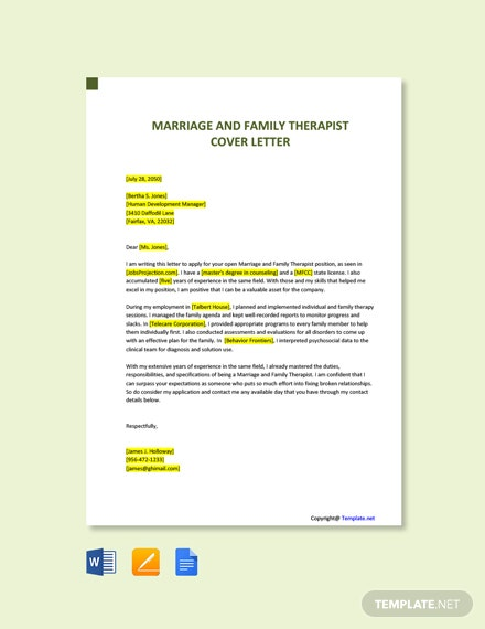 Free Marriage & Family Therapist Cover Letter Template