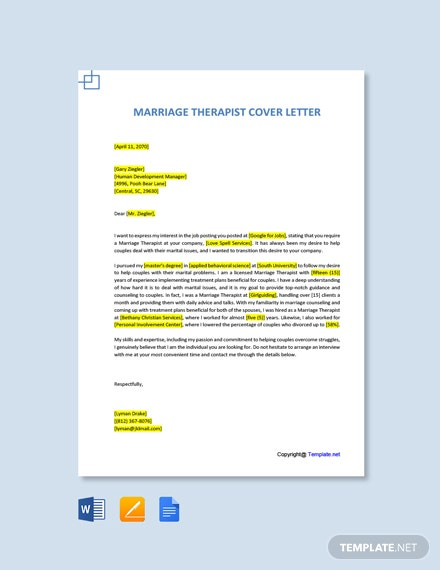 Free Marriage Therapist Cover Letter Template
