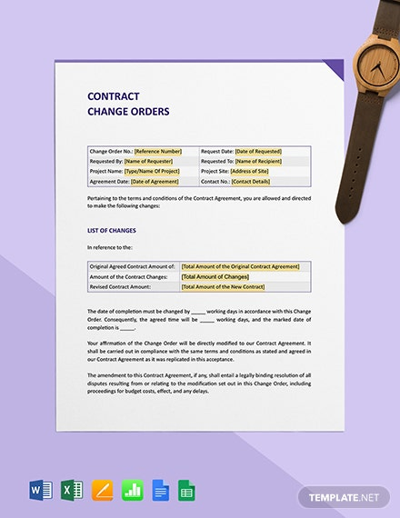 Contract Change Orders Template