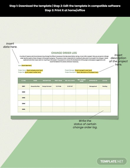 Change Order Log Template