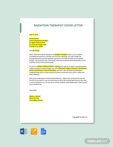 Free Radiation Therapist Cover Letter Template