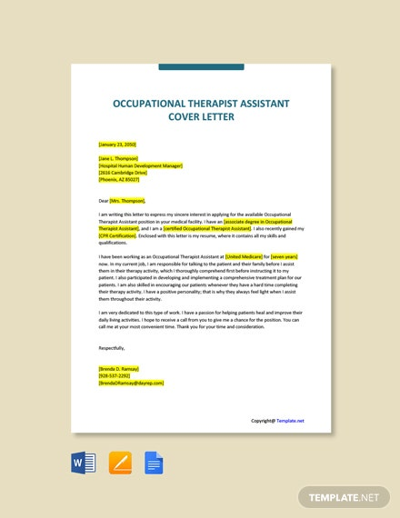 Free Occupational Therapist Assistant Cover Letter Template