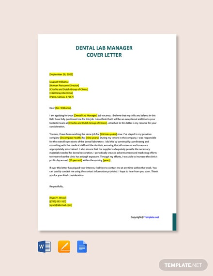 Free Dental Lab Manager Cover Letter Template