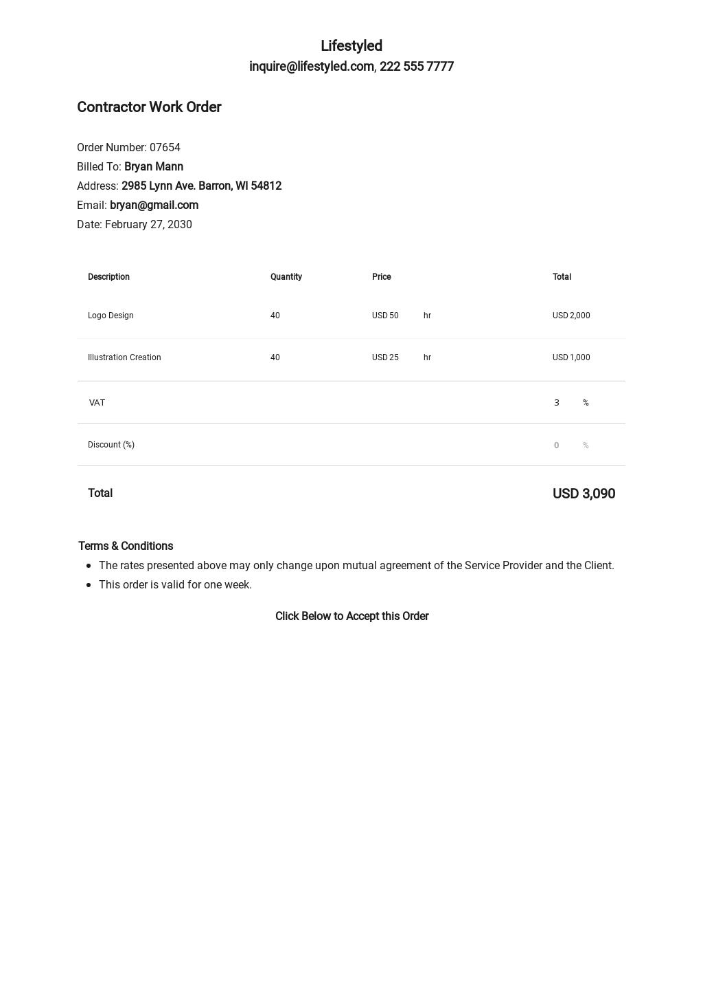Contractor Work Order Template