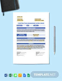 Construction Engineering Work Order Template