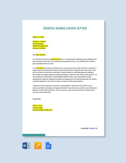 Free Dental Nurse Cover Letter Template