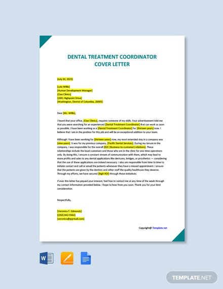 Free Dental Treatment Coordinator Cover Letter Template