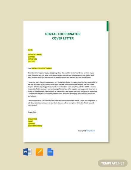 Free Dental Coordinator Cover Letter Template