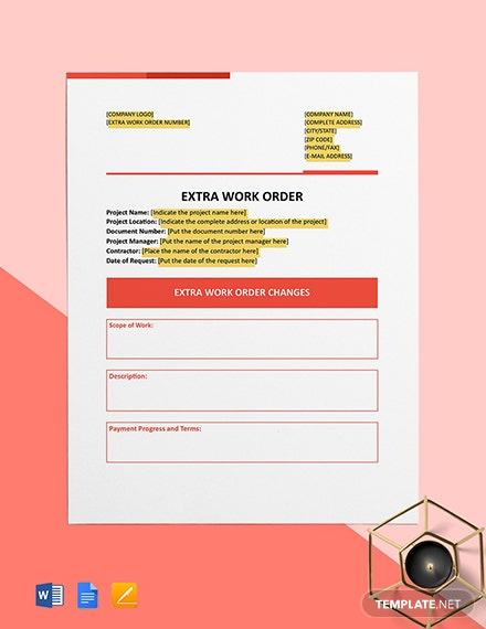 Extra Work Order Template