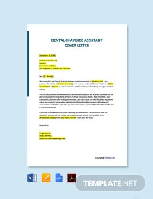 Free Dental Chairside Assistant Cover Letter Template