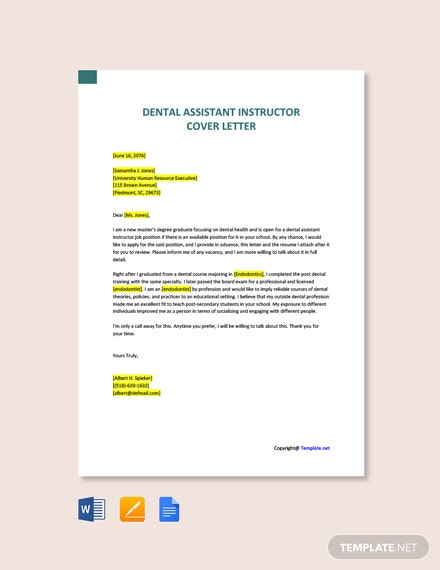 Free Dental Assistant Instructor Cover Letter Template