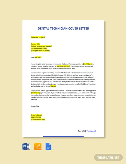 Dental Technician Cover Letter Template