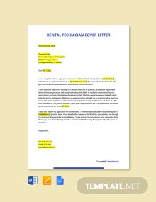 Free Dental Technician Cover Letter Template