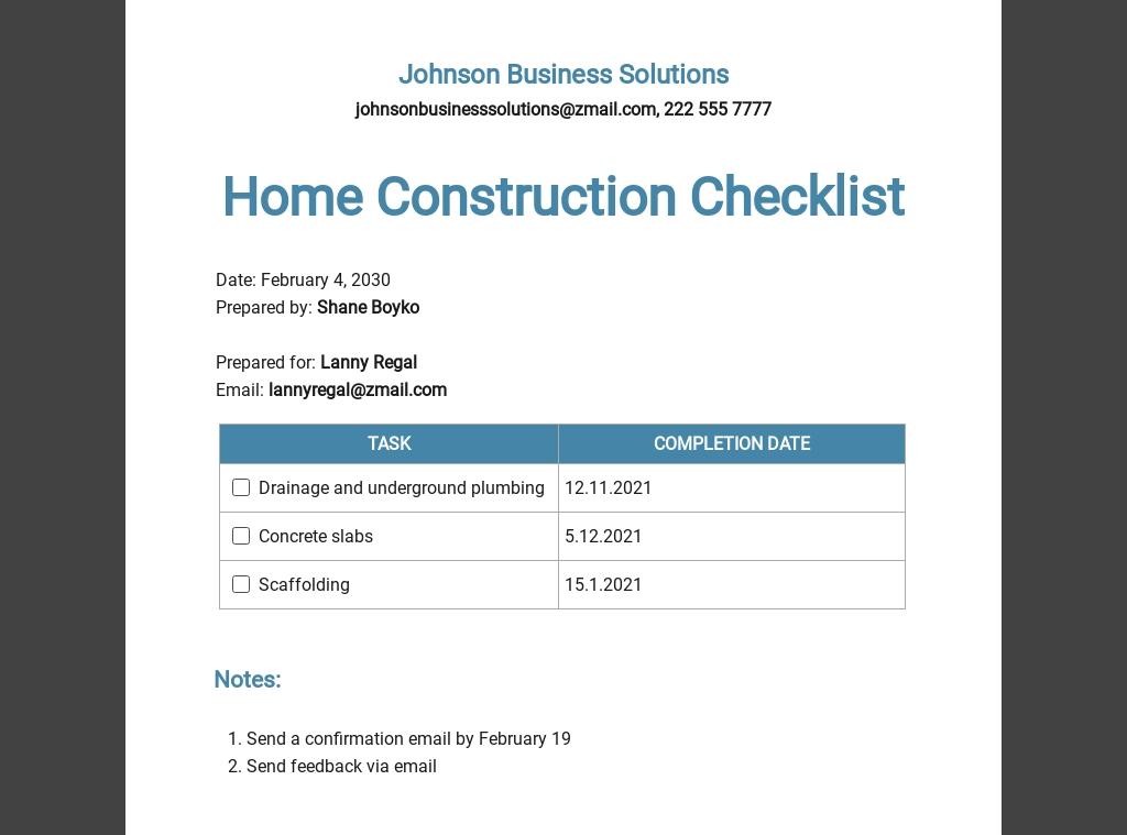 Home Construction Checklist Template