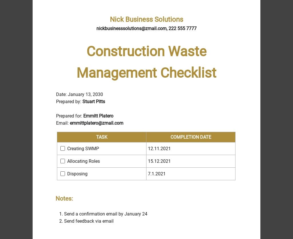 Construction Waste Management Checklist Template
