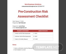 Pre-Construction Risk Assessment Checklist Template