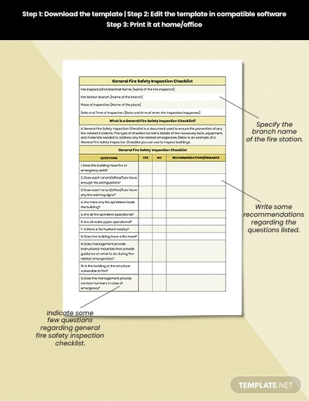 General Fire Safety Inspection Checklist Format