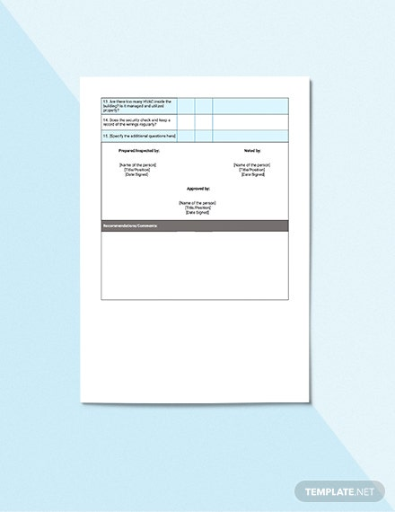 Electrical Safety Inspection Checklist Template